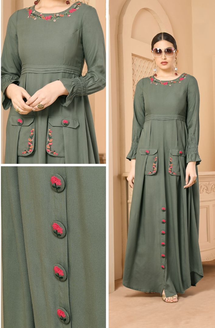 Grey Color Rayon Readymade Designer Kurtis ( Sizes - 34,36,38,40,42): Paavni Collection NYF-2694 - YellowFashion.in