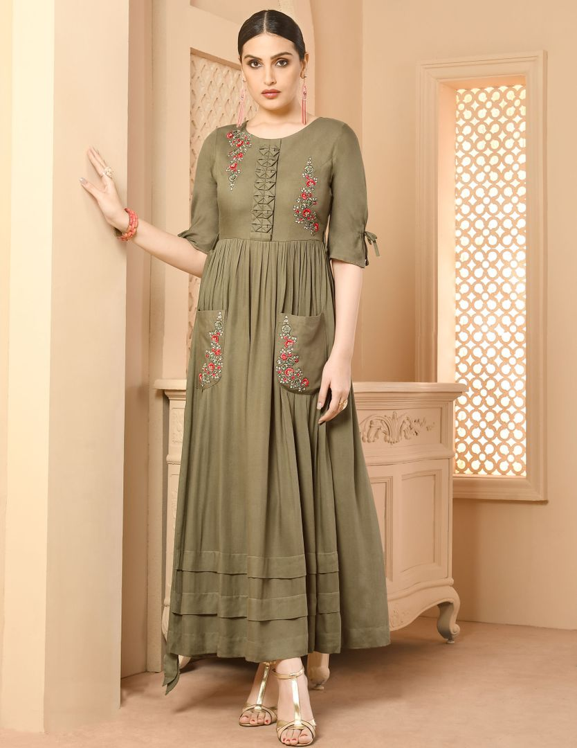 Light Olive Green Color Rayon Readymade Designer Kurtis ( Sizes - 34,36,38,40,42): Paavni Collection NYF-2699 - YellowFashion.in