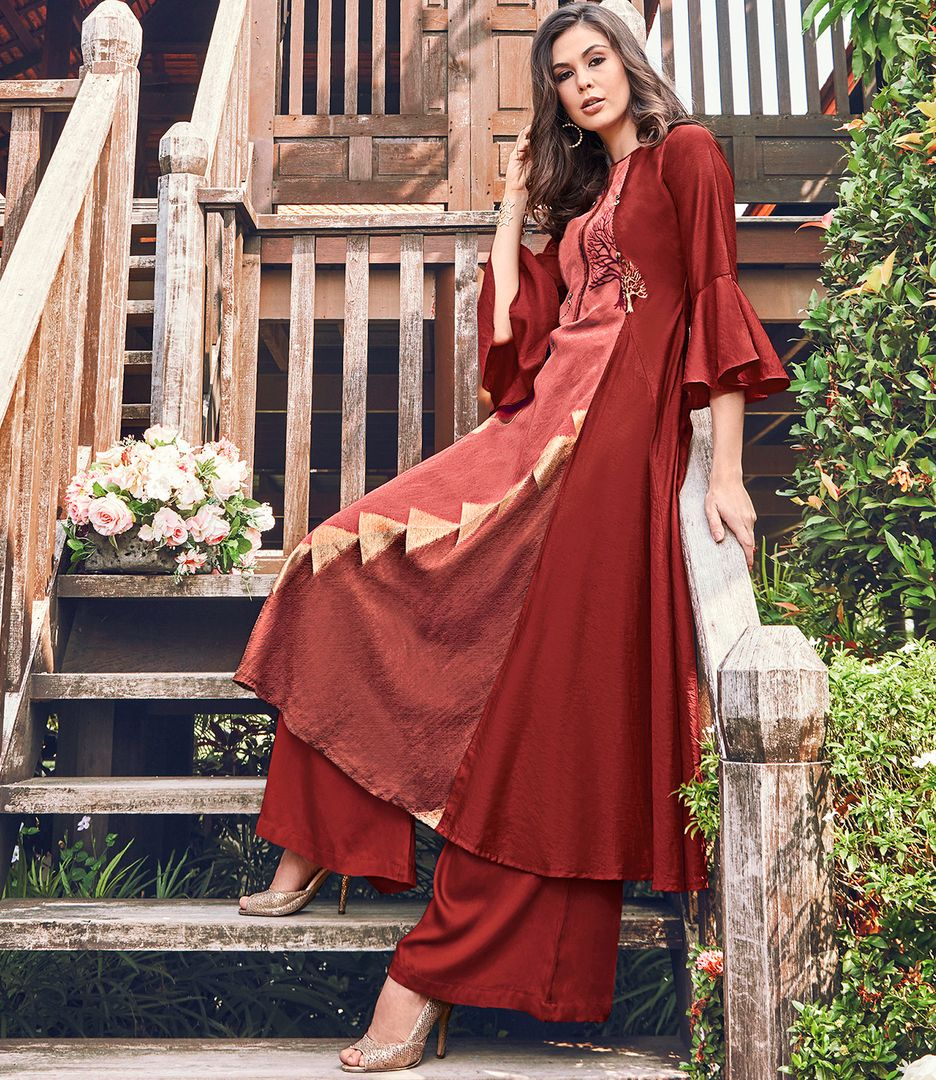 Brick Red Color Satin Modal Jacquard Readymade Designer Kurtis ( Sizes - 40,42, 44): Abhra Collection NYF-2539 - YellowFashion.in