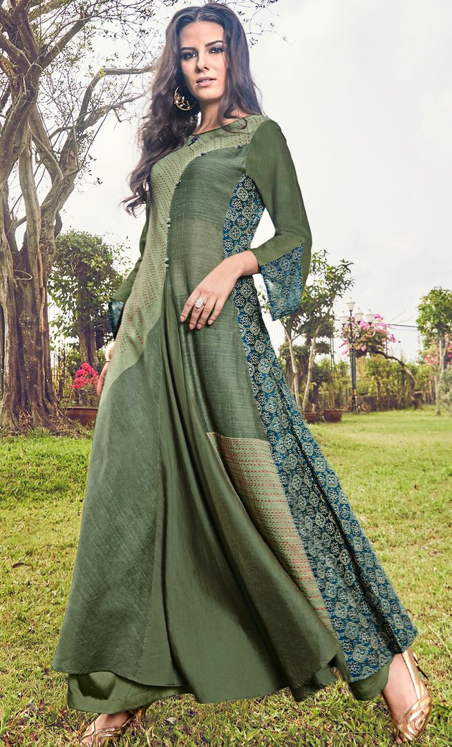 Green Color Satin Modal Jacquard Readymade Designer Kurtis ( Sizes - 40,42, 44): Abhra Collection NYF-2545 - YellowFashion.in