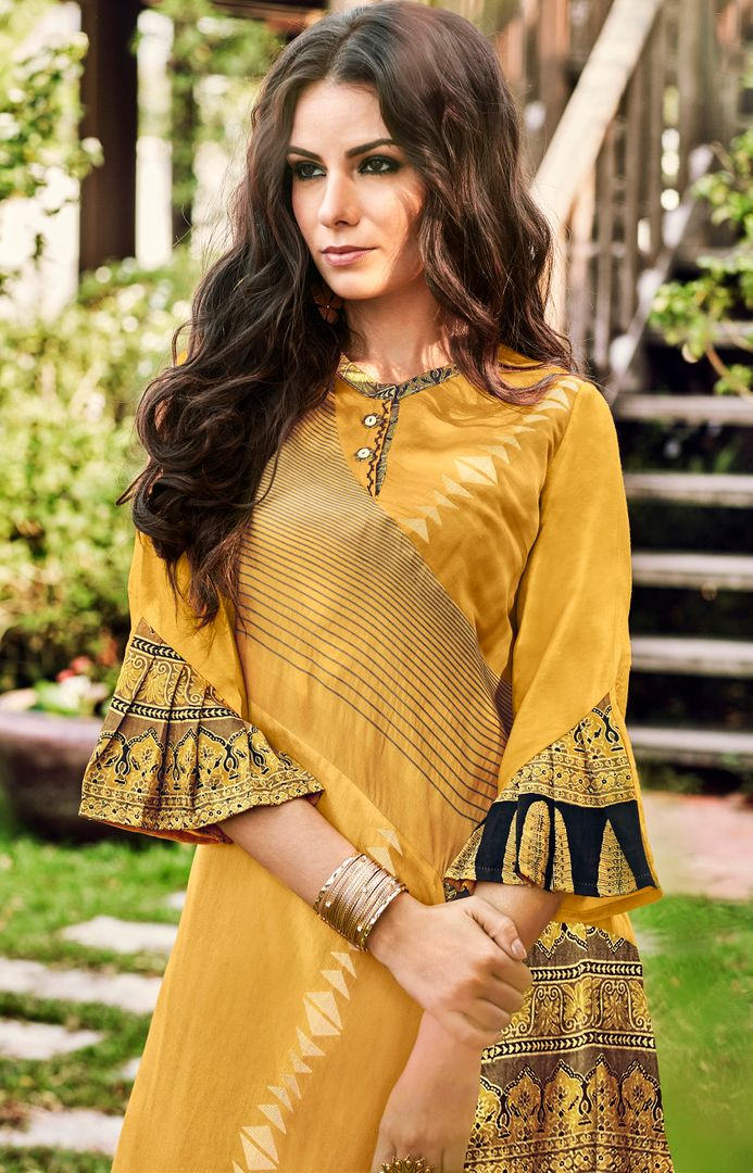 Yellow Color Satin Modal Jacquard Readymade Designer Kurtis ( Sizes - 40,42, 44): Abhra Collection NYF-2548 - YellowFashion.in