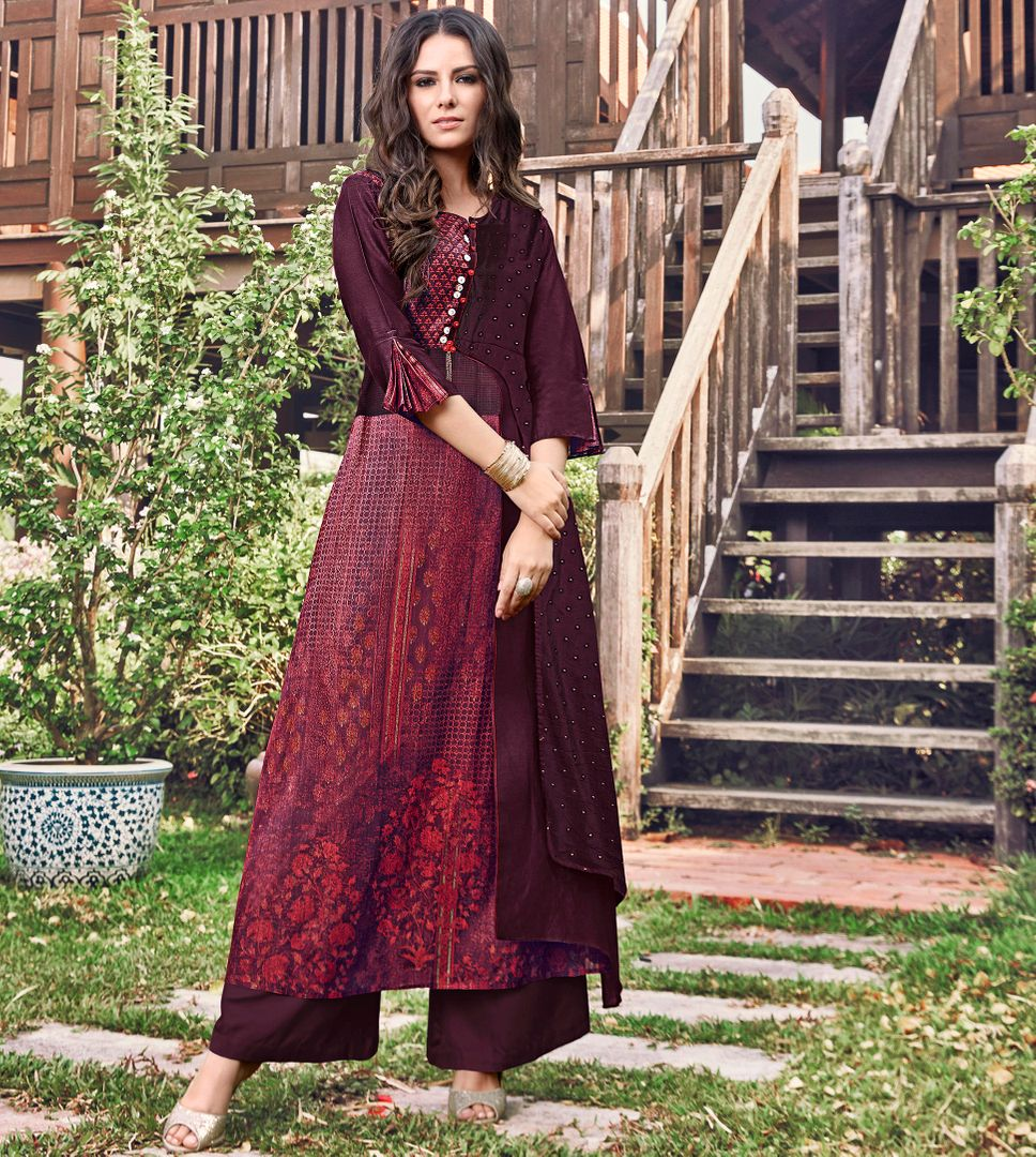 Maroon Color Satin Modal Jacquard Readymade Designer Kurtis ( Sizes - 40,42, 44): Abhra Collection NYF-2551 - YellowFashion.in
