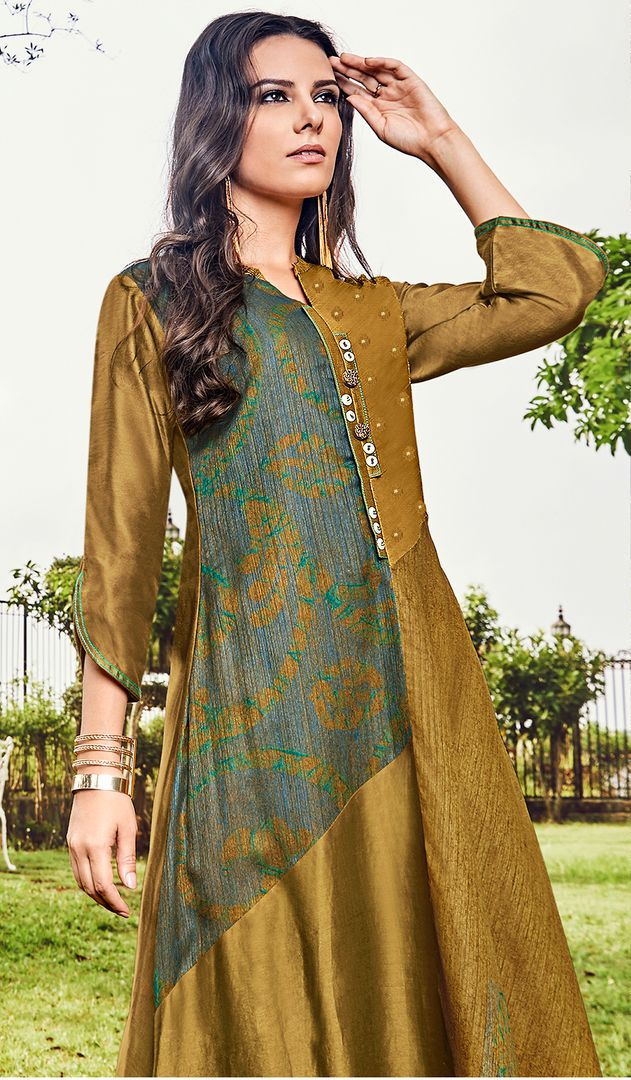 Olive Green Color Satin Modal Jacquard Readymade Designer Kurtis ( Sizes - 40,42, 44): Abhra Collection NYF-2554 - YellowFashion.in