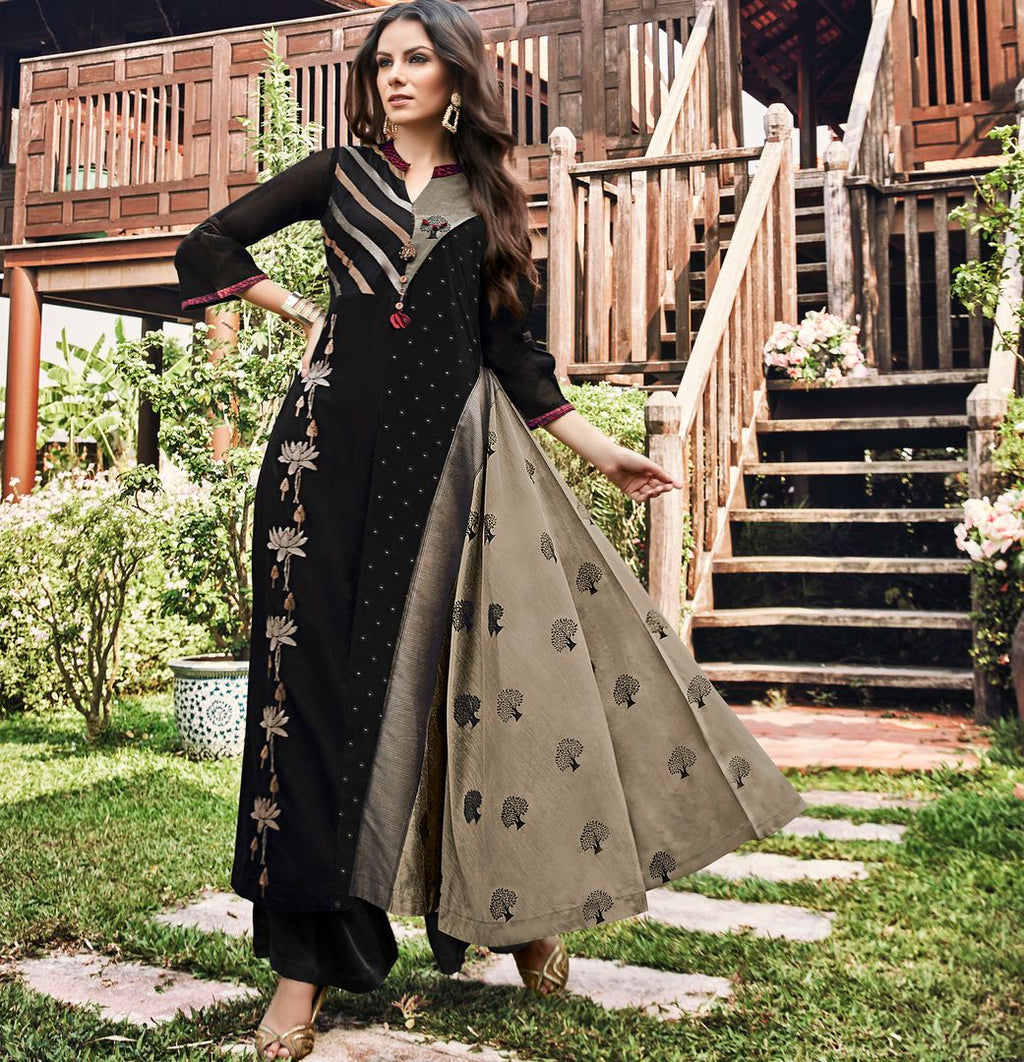 Black & Grey Color Satin Modal Jacquard Readymade Designer Kurtis ( Sizes - 40,42, 44): Abhra Collection NYF-2557 - YellowFashion.in