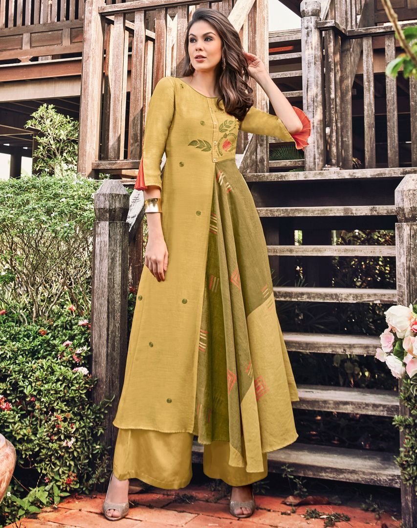 Yellow & Green Color Satin Modal Jacquard Readymade Designer Kurtis ( Sizes - 40,42, 44): Abhra Collection NYF-2560 - YellowFashion.in