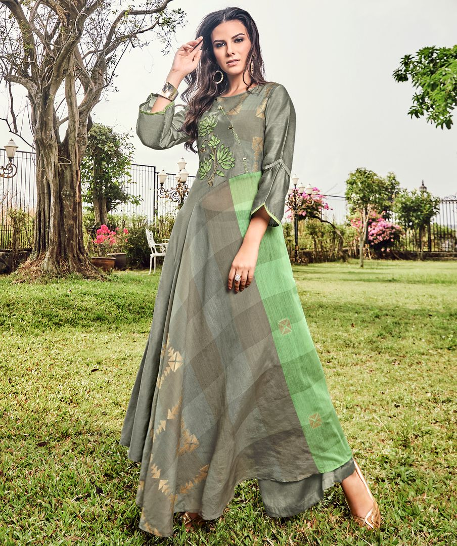 Grey & Green Color Satin Modal Jacquard Readymade Designer Kurtis ( Sizes - 40,42, 44): Abhra Collection NYF-2563 - YellowFashion.in