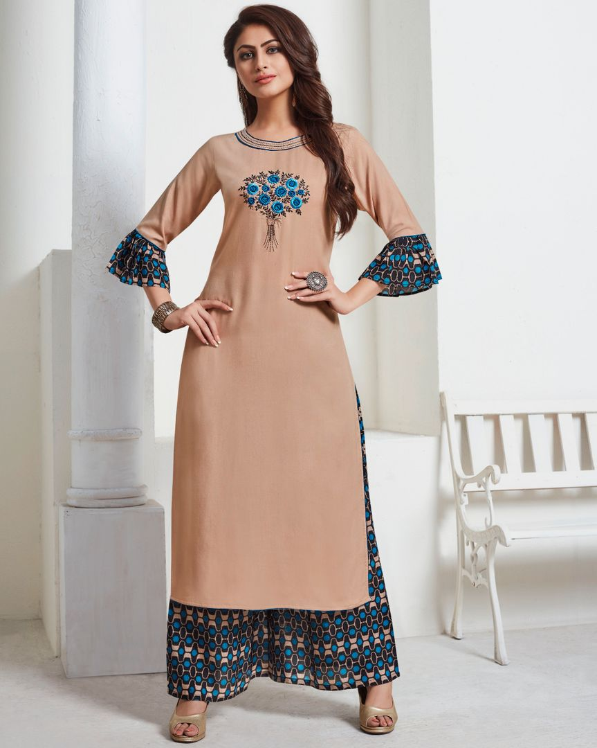 Beige Color Slub Rayon Readymade Kurti With Palazzo ( Sizes - 34,36,38,40,42,44): Hemani Collection NYF-2988 - YellowFashion.in