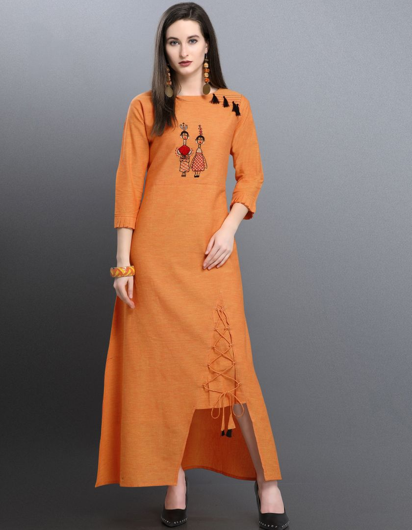 Orange Color Khadi Cotton Readymade Designer Kurtis ( Sizes -38,40,42): Aabha Collection NYF-2935 - YellowFashion.in
