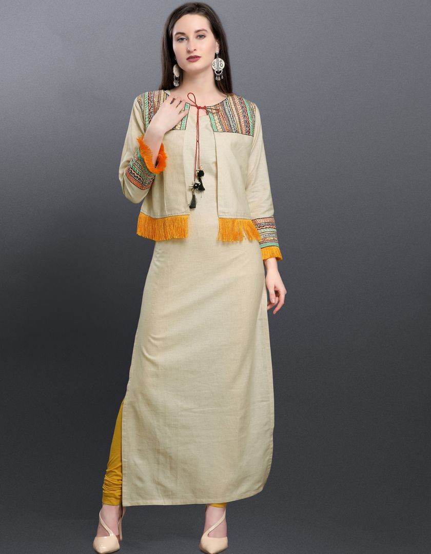 Cream Color Cotton Readymade Designer Kurtis ( Sizes -38,40,42,44): Aabha Collection NYF-2938 - YellowFashion.in