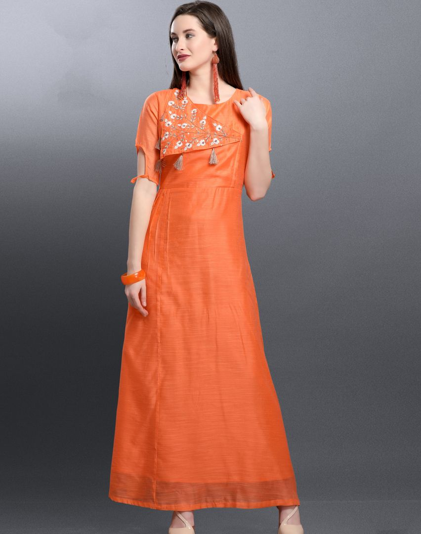 Orange Color Art Silk Readymade Designer Kurtis ( Sizes -38,40,42): Aabha Collection NYF-2942 - YellowFashion.in