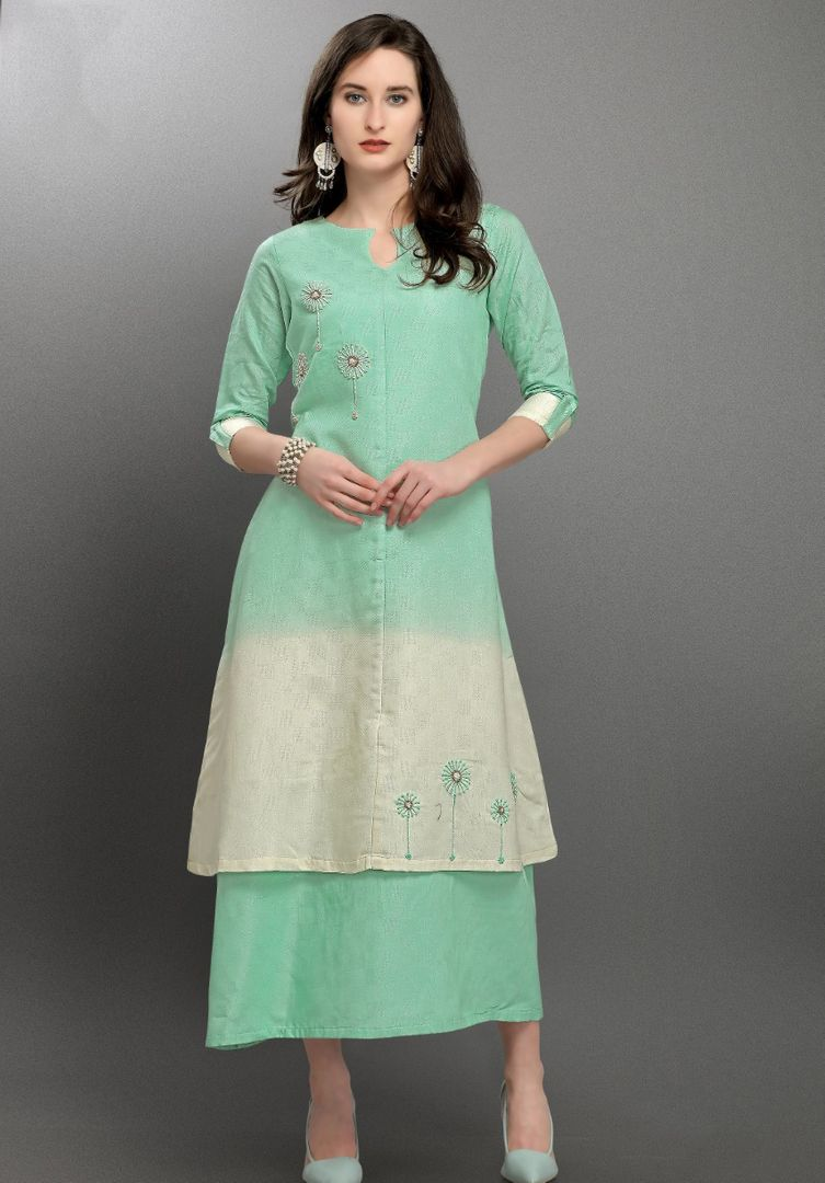 Aqua Green & Off White Color Viscose Silk Readymade Designer Kurtis ( Sizes -38,40,42,44): Aabha Collection NYF-2954 - YellowFashion.in