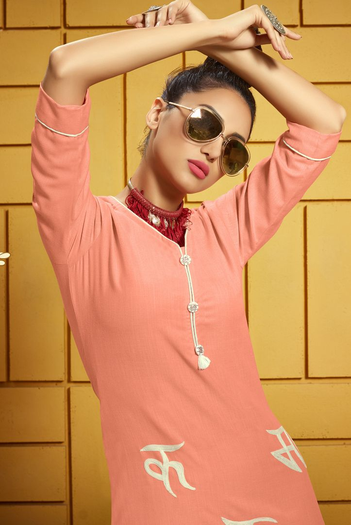 Pink Color Rayon Readymade Office Wear Kurtis ( Sizes - 40,42,44): Iniya Collection NYF-3190 - YellowFashion.in
