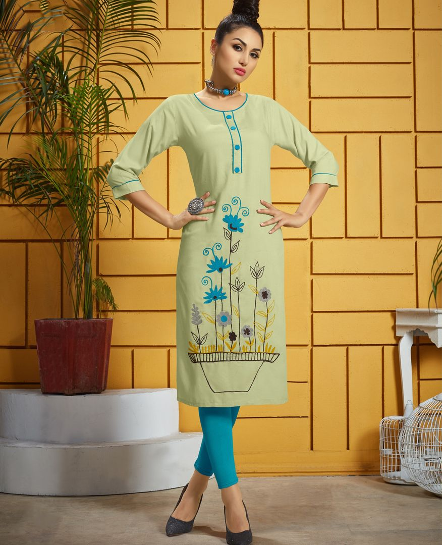 Light Pastel Green Color Rayon Readymade Office Wear Kurtis ( Sizes - 40,42,44): Iniya Collection NYF-3202 - YellowFashion.in