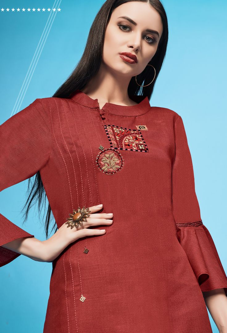 Red Color Slub Cotton Readymade Office Party Kurtis ( Sizes - 40,42,44): Iniya Collection NYF-3163 - YellowFashion.in