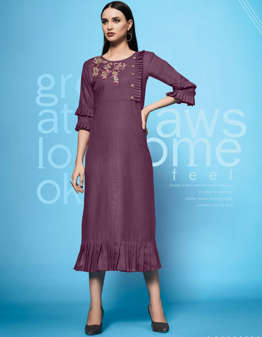Purple Color Slub Cotton Readymade Office Party Kurtis ( Sizes - 40,42,44): Iniya Collection NYF-3178 - YellowFashion.in