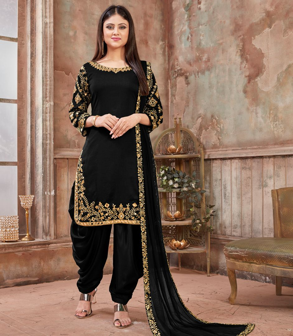 Black Color Art Silk Readymade Semi Stitched Suits : Hamsika Collection NYF-3159 - YellowFashion.in