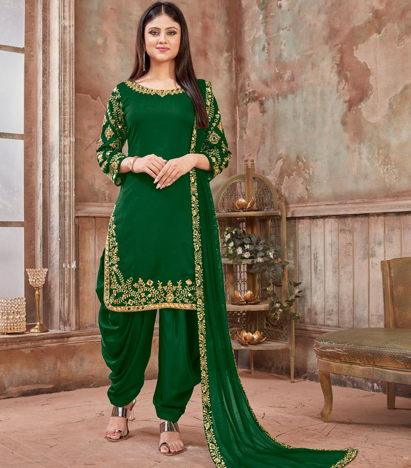 Green Color Art Silk Readymade Semi Stitched Suits : Hamsika Collection NYF-3160 - YellowFashion.in