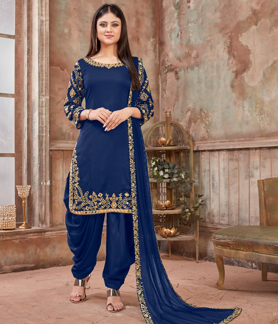 Ink Blue Color Art Silk Readymade Semi Stitched Suits : Hamsika Collection NYF-3161 - YellowFashion.in