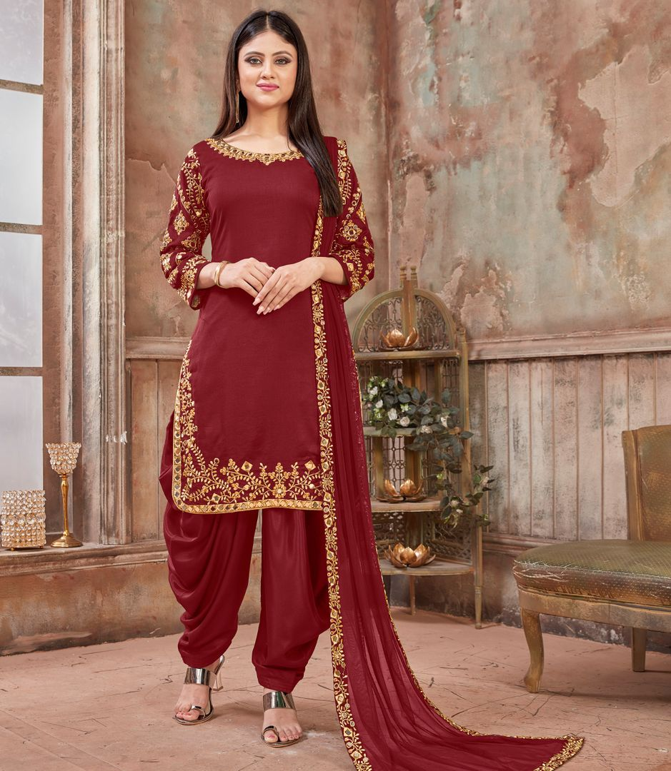 Maroon Color Art Silk Readymade Semi Stitched Suits : Hamsika Collection NYF-3162 - YellowFashion.in