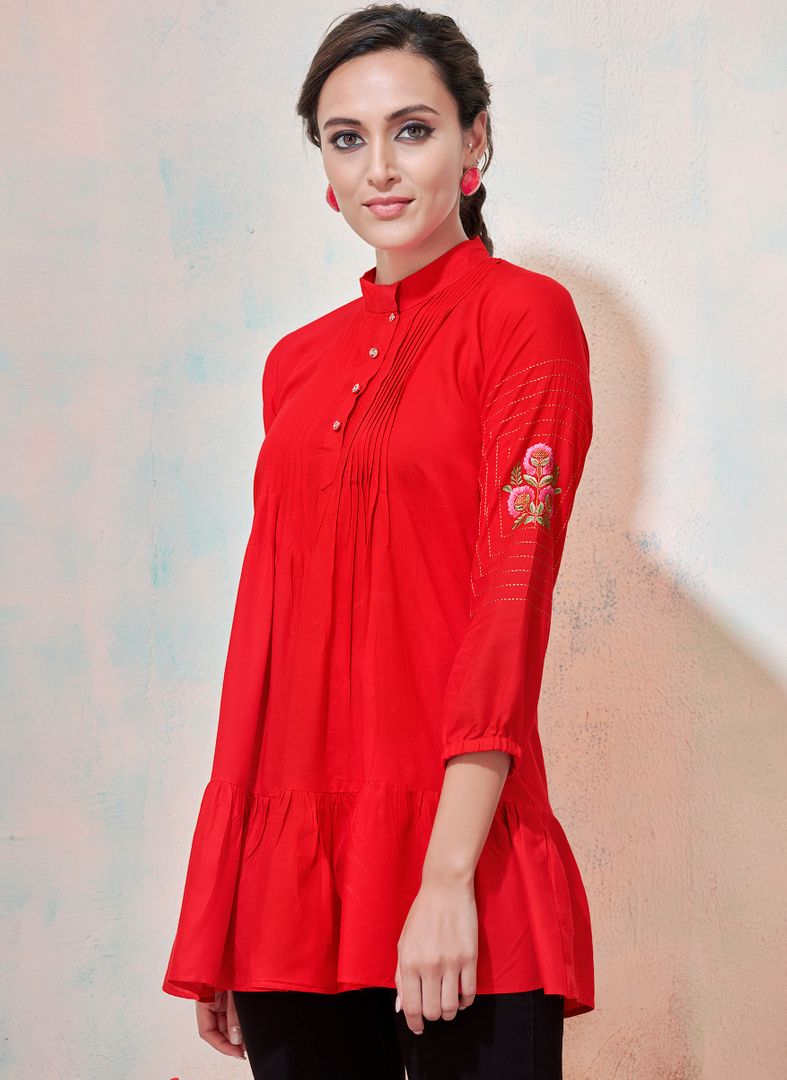 Red Color Rayon Readymade Casual Tops ( Sizes - 36,38,40,42): Yashica Collection NYF-3218 - YellowFashion.in