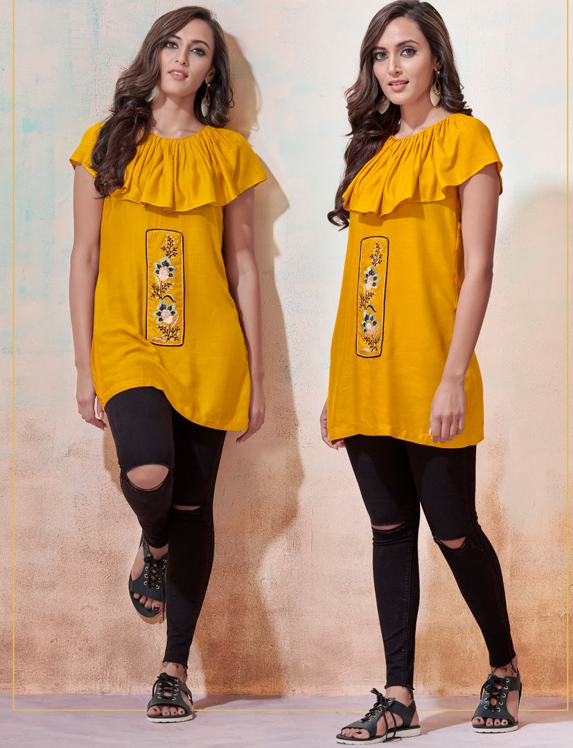Yellow Color Rayon Readymade Casual Tops ( Sizes - 36,38,40,42): Yashica Collection NYF-3222 - YellowFashion.in