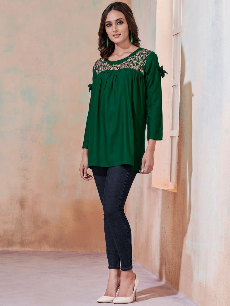 Green Color Rayon Readymade Casual Tops ( Sizes - 36,38,40,42): Yashica Collection NYF-3226 - YellowFashion.in