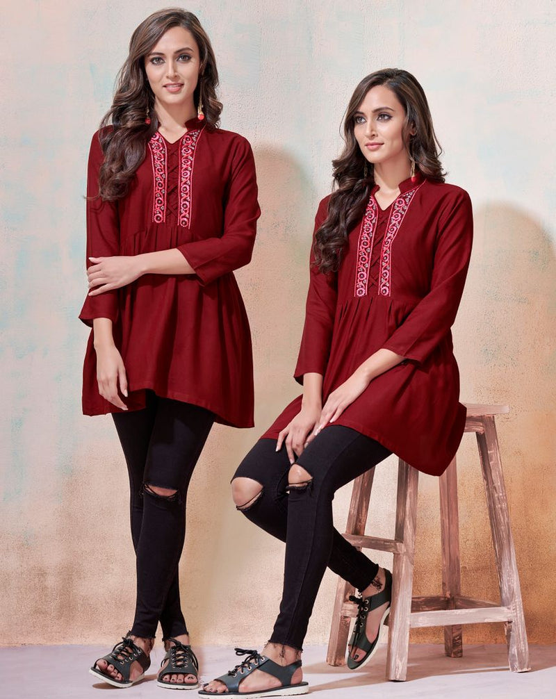 Maroon Color Rayon Readymade Casual Tops ( Sizes - 36,38,40,42): Yashica Collection NYF-3230 - YellowFashion.in