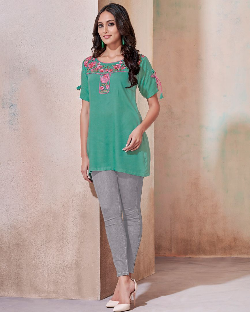 Aqua Green Color Rayon Readymade Casual Tops ( Sizes - 36,38,40,42): Yashica Collection NYF-3238 - YellowFashion.in