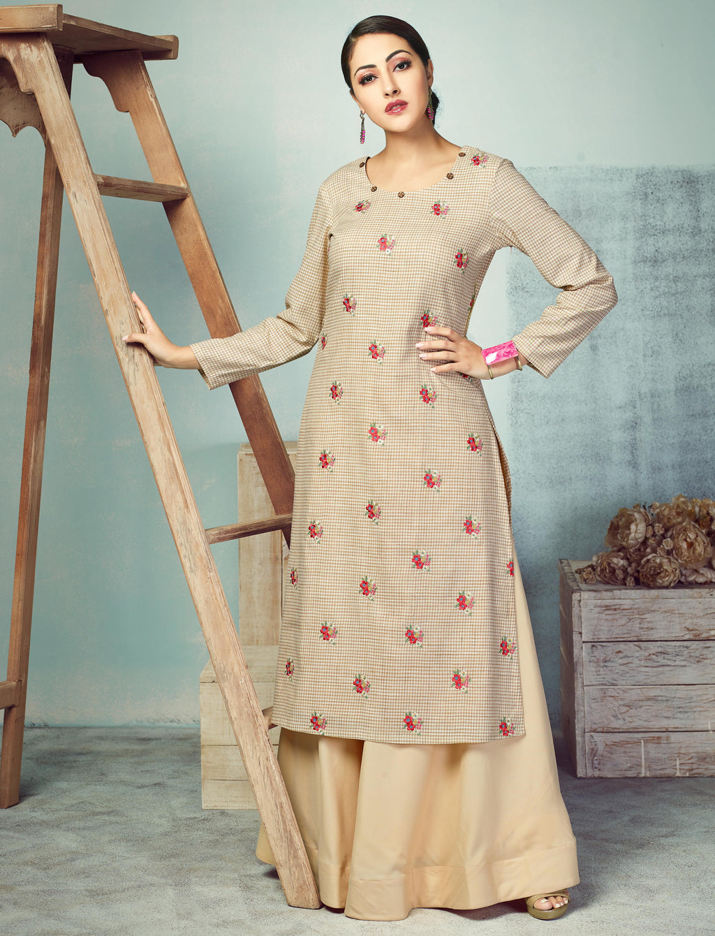 Beige Color Handloom Cotton Kurti With Bottom (Skirt) NYF-3998 - YellowFashion.in