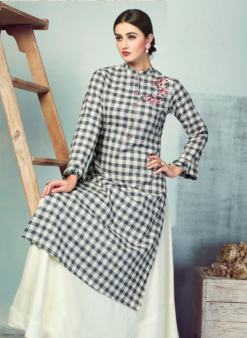 Black & White Color Handloom Cotton Kurti With Bottom (Skirt) NYF-4004 - YellowFashion.in