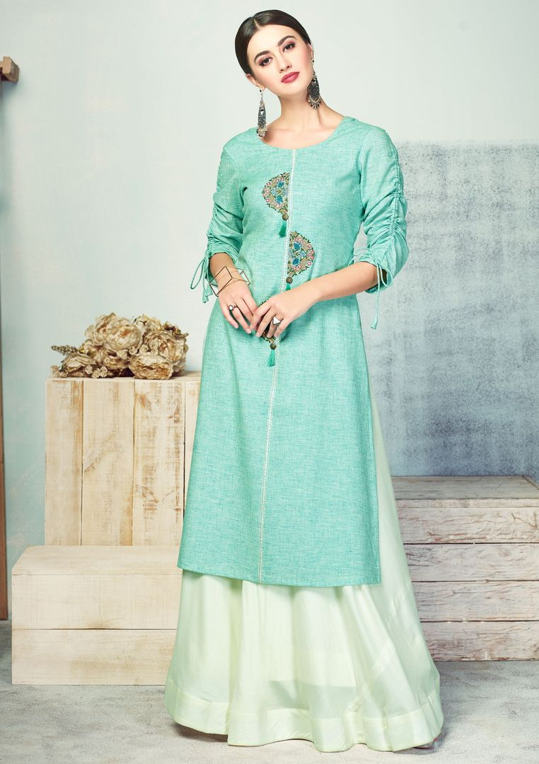 Aqua Green Color Handloom Cotton Kurti With Bottom (Skirt) NYF-4010 - YellowFashion.in