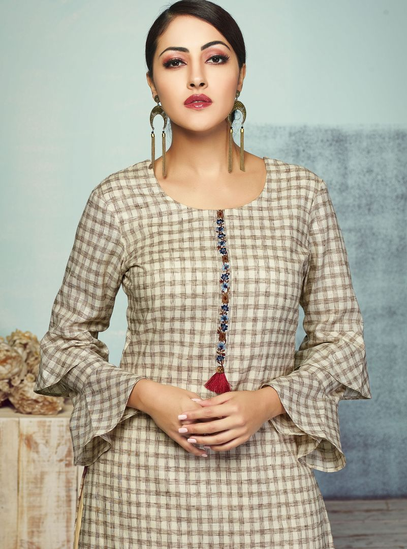 Beige Color Handloom Cotton Kurti With Bottom (Skirt) NYF-4016 - YellowFashion.in
