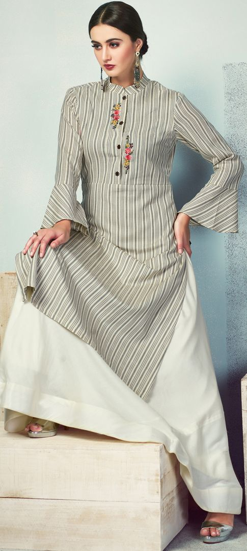 Grey & Off White Color Handloom Cotton Kurti With Bottom (Skirt) NYF-4022 - YellowFashion.in
