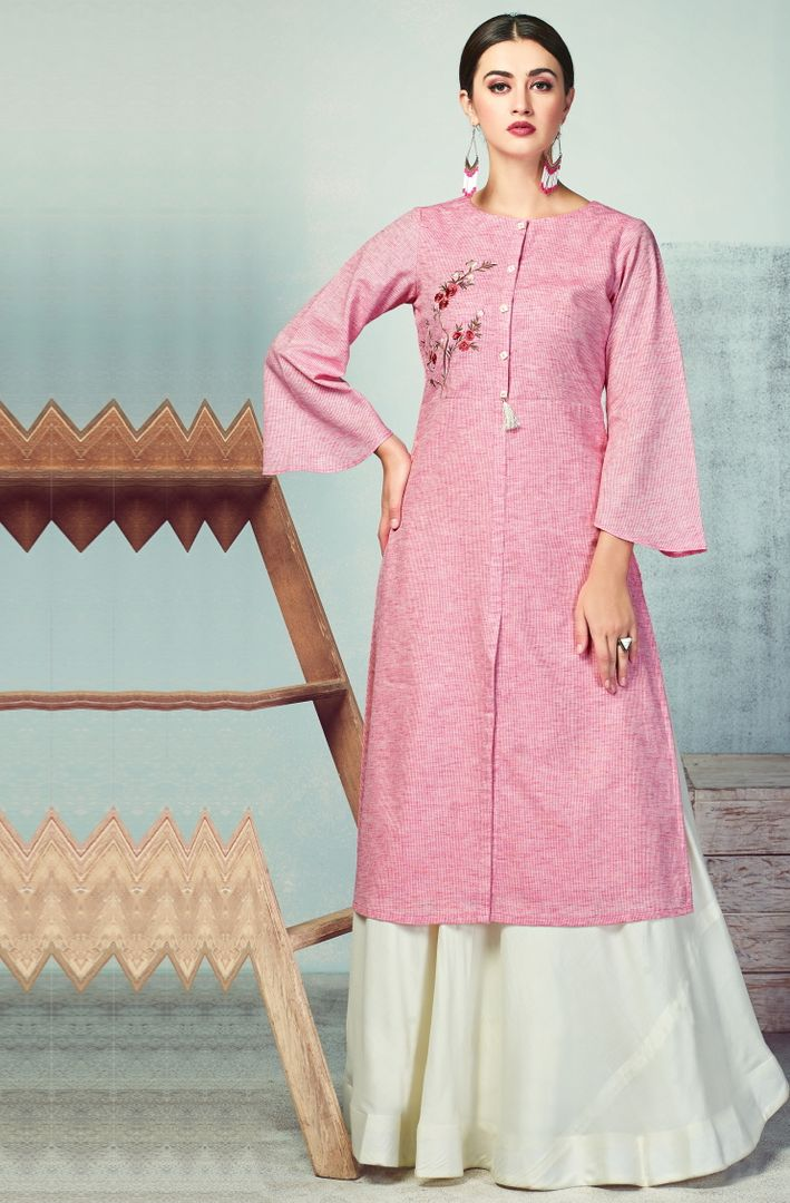 Pink Color Handloom Cotton Kurti With Bottom (Skirt) NYF-4034 - YellowFashion.in