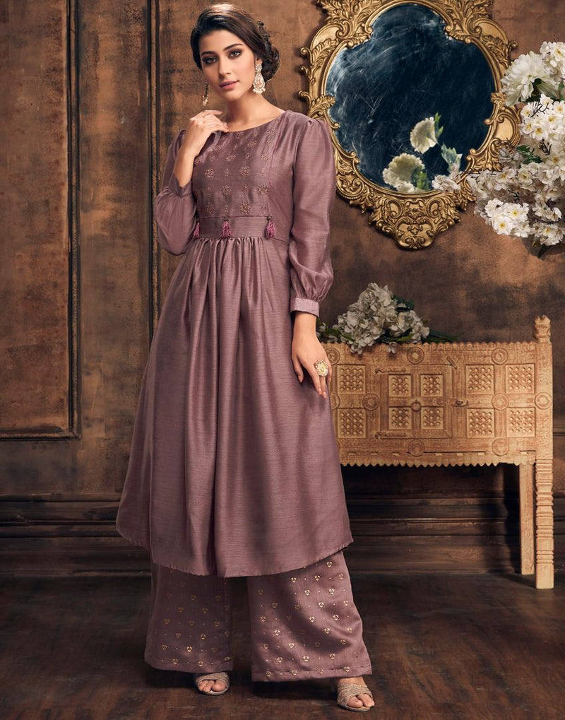 Purple Color Soft Silk Designer Festive Kurti With Palazzo NYF-4087 - YellowFashion.in