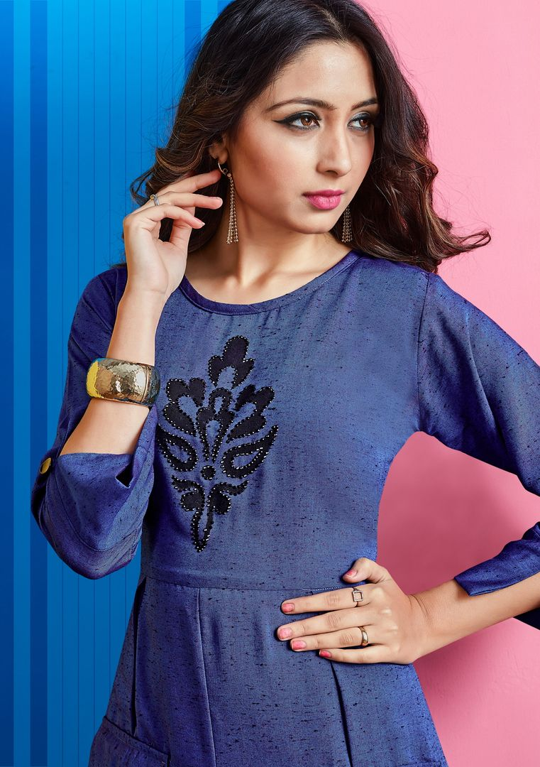 Blue Color Slub Rayon Long Office Wear Kurtis NYF-4057 - YellowFashion.in