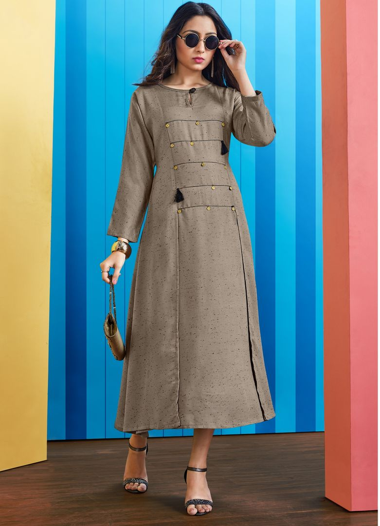 Grey Color Slub Rayon Long Office Wear Kurtis NYF-4066 - YellowFashion.in