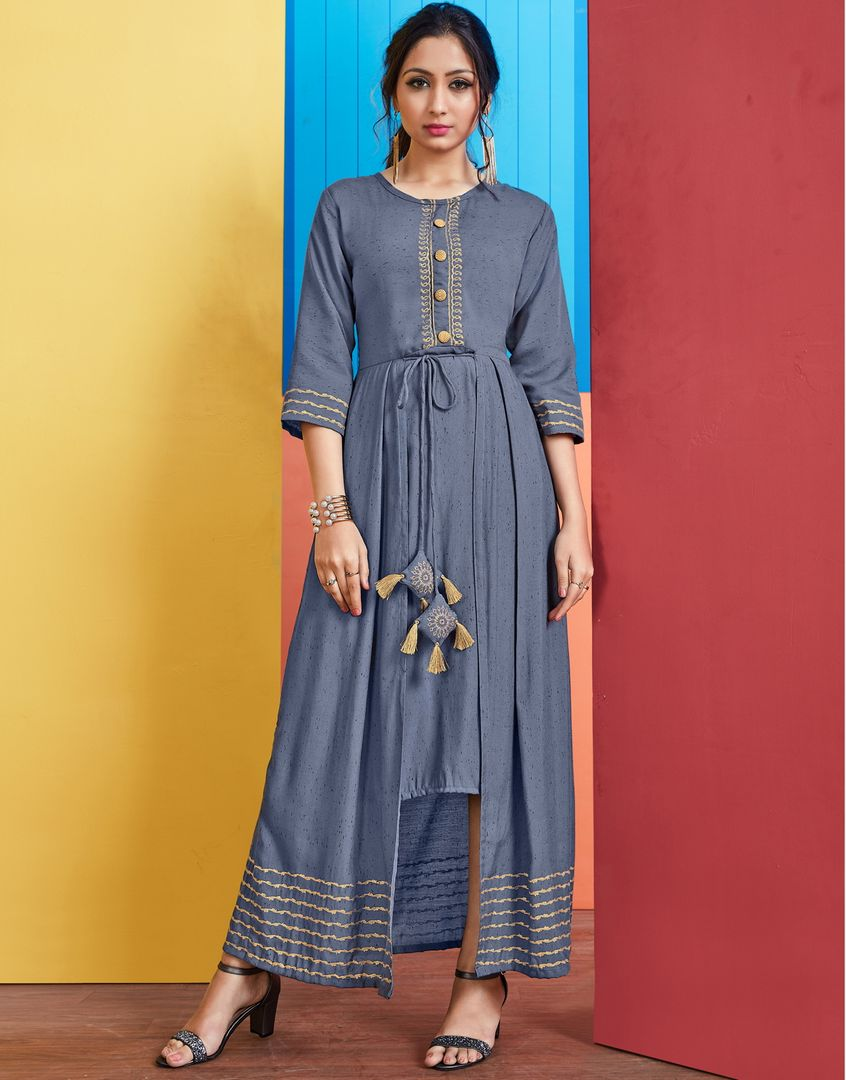 Greyish Blue Color Slub Rayon Long Office Wear Kurtis NYF-4072 - YellowFashion.in