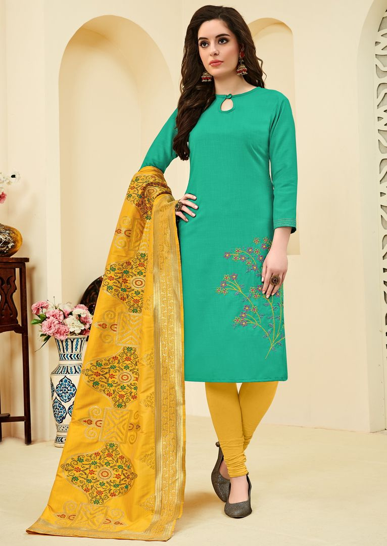 Sea Green Color Slub Cotton  Unstitched Dress Material NYF-4141 - YellowFashion.in