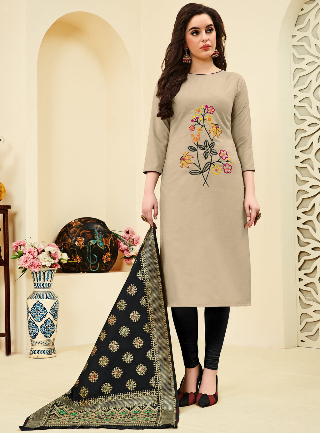 Grey Color Slub Cotton  Unstitched Dress Material NYF-4142 - YellowFashion.in