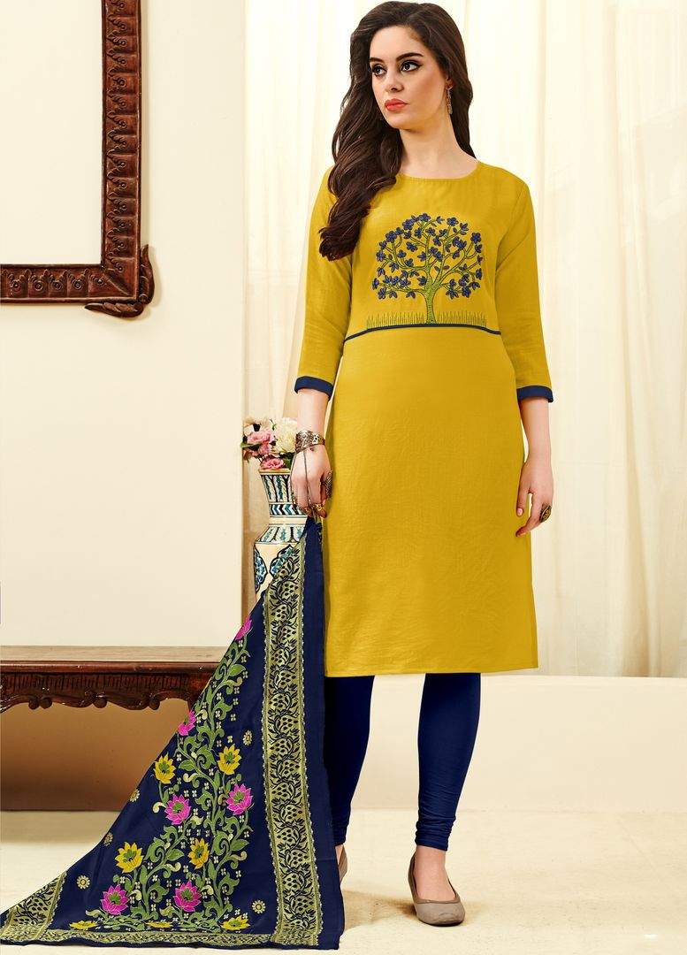 Yellow Color Slub Cotton  Unstitched Dress Material NYF-4143 - YellowFashion.in