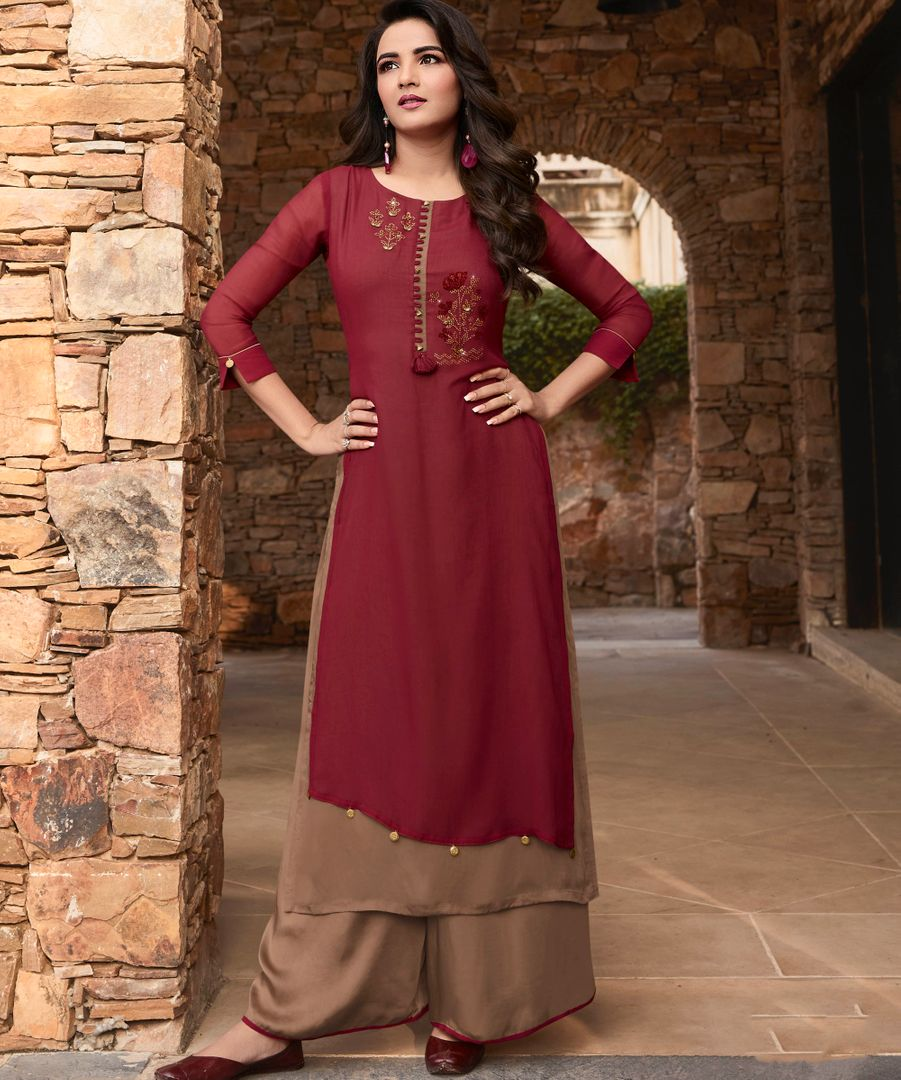 Maroon & Light Coffee Color Georgette & Soft Silk Exquisite Kurtis With Palazzo NYF-4260 - YellowFashion.in