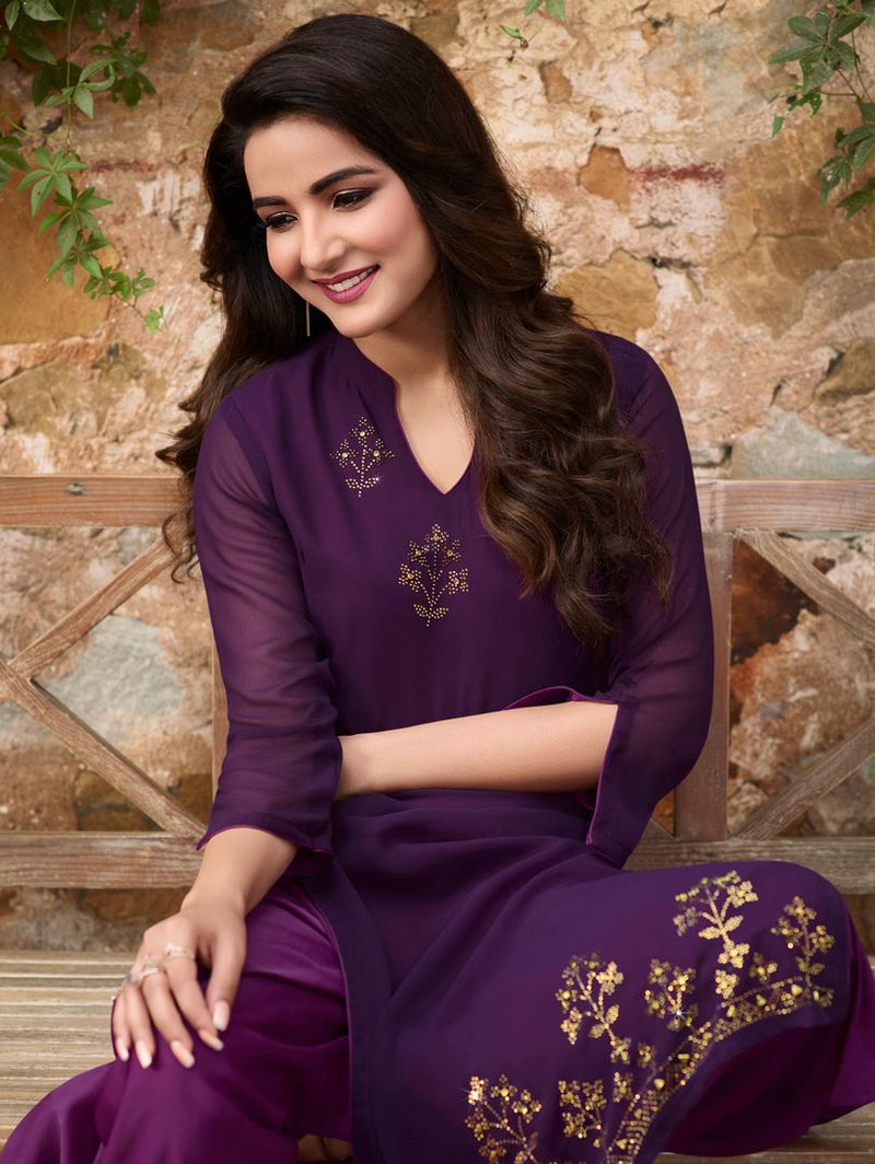 Purple Color Georgette & Soft Silk Exquisite Kurtis With Palazzo NYF-4266 - YellowFashion.in