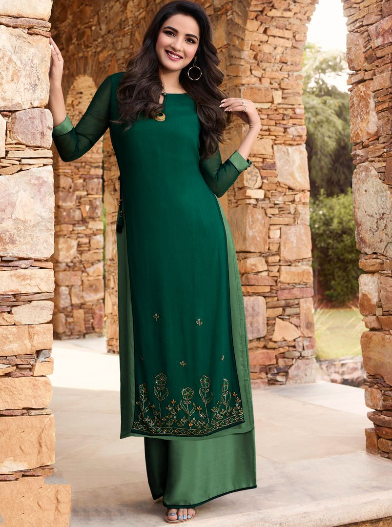 Green Color Georgette & Soft Silk Exquisite Kurtis With Palazzo NYF-4272 - YellowFashion.in
