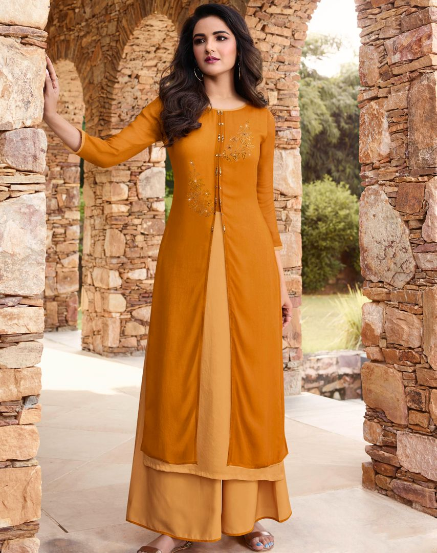 Mustard Yellow Color Georgette & Soft Silk Exquisite Kurtis With Palazzo NYF-4278 - YellowFashion.in