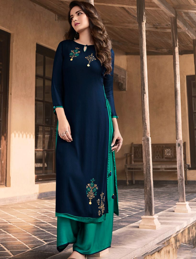 Navy Blue & Aqua Green Color Georgette & Soft Silk Exquisite Kurtis With Palazzo NYF-4284 - YellowFashion.in