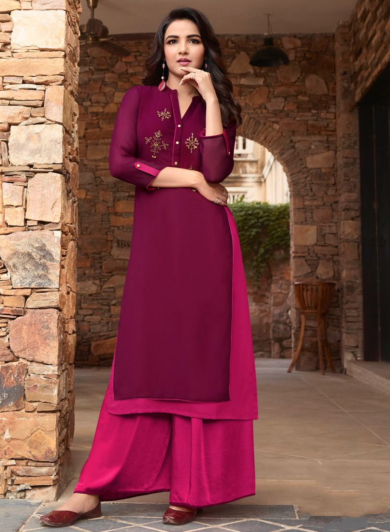 Magenta & Rani Pink Color Georgette & Soft Silk Exquisite Kurtis With Palazzo NYF-4287 - YellowFashion.in
