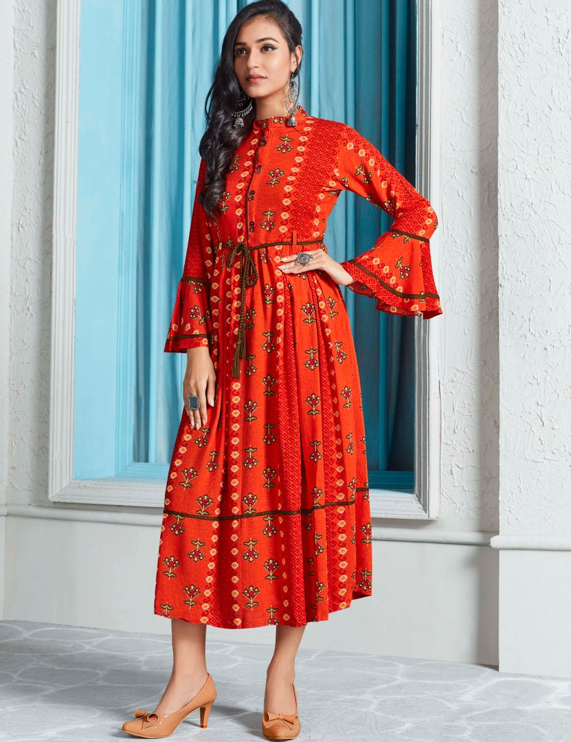 Orange Color Rayon Indo Western Printed Kurtis NYF-4669