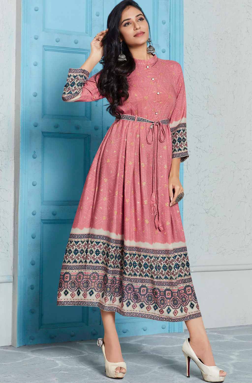 Dusty Pink Color Rayon Indo Western Printed Kurtis NYF-4687