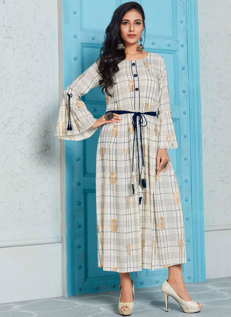 Off White Color Rayon Indo Western Printed Kurtis NYF-4705